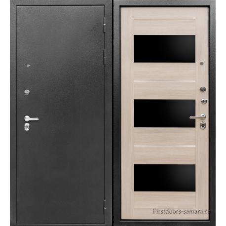 Стальная дверь Тайгер Трио экошпон серебро-кремовая лиственница