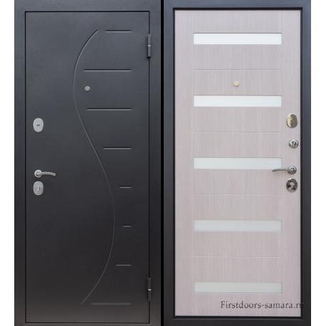 Стальная дверь Тайгер Вираж штамп (черный муар/кремовая лиственница)
