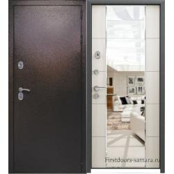 Стальная дверь Мираж антик медь/беленый дуб с зеркалом
