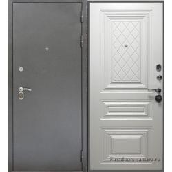 Стальная дверь Тайгер Трио Престиж (антик серебро/белый ясень)