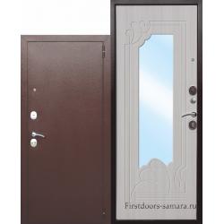 Стальная дверь Ампир Белый ясень зеркало