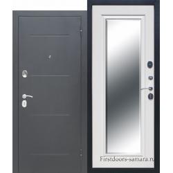 Стальная дверь Гарда Серебро Зеркало Фацет Белый ясень