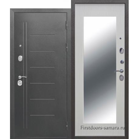 Стальная дверь Троя Серебро МАКСИ зеркало Белый ясень