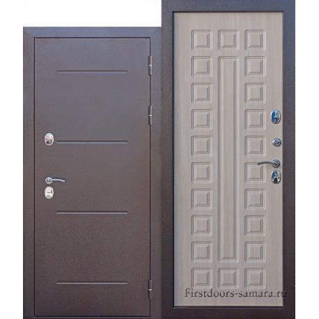Стальная дверь Isoterma медный антик Лиственница мокко