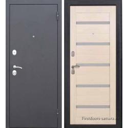 Стальная дверь Тайгер Хит царга серебро / беленый дуб