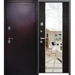Стальная дверь Мираж антик медь/венге с зеркалом
