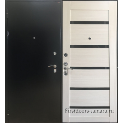 Стальная дверь 7х сандал белый/темное стекло