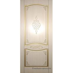 Межкомнатная дверь Женева ПГ Беленый дуб/Золото