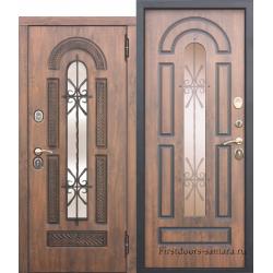 Стальная дверь со стеклопакетом и ковкой Vikont