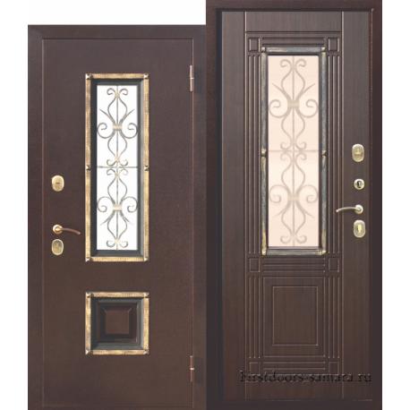 Стальная дверь со стеклопакетом Венеция Венге