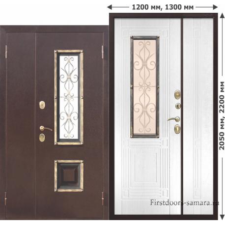 Стальная дверь со стеклопакетом Венеция 1200 Белый ясень