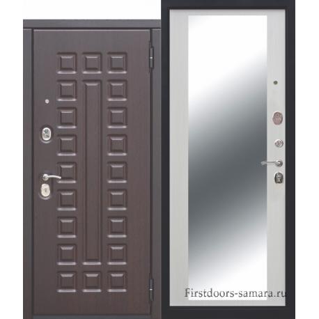 Стальная дверь МОНАРХ Зеркало Белый ясень 10 см