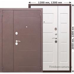 Стальная дверь Гарда Белый ясень 7,5 см 1200*2050