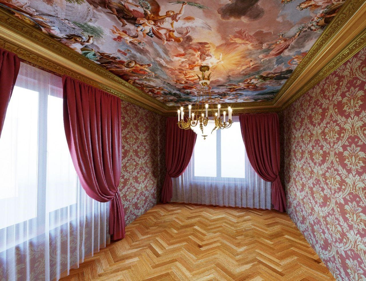 Малярные способы декорирования потолка фото обновляются как